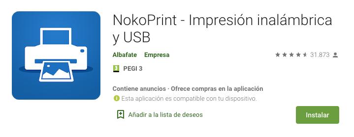 NokoPrint Impresión inalámbrica y USB apk