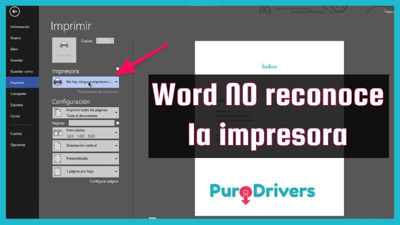 Word no detecta la impresora error